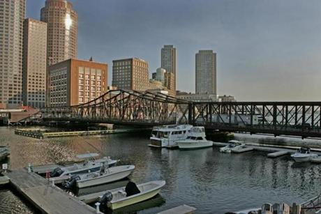 "The truss bridge over the Fort Point Channel in Boston, which will get a ""bridge of flowers"" treatment in the future."